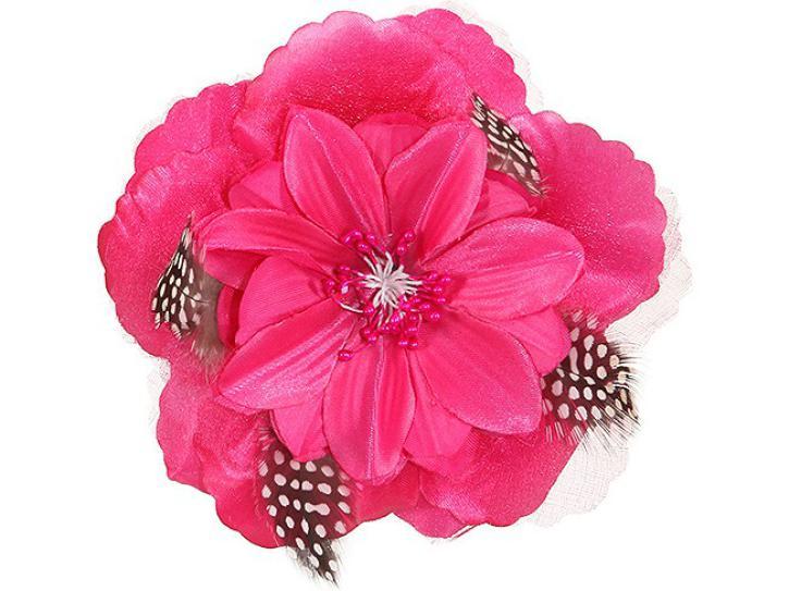 Ansteckblume pink mit Federn