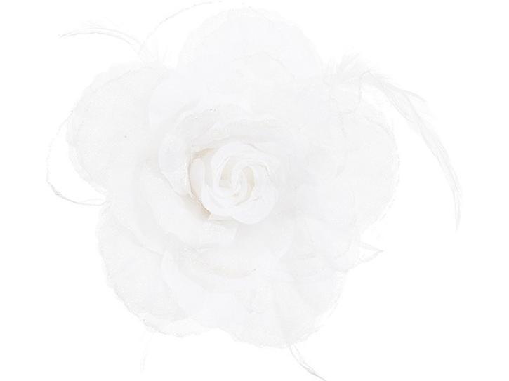 Ansteckblume weiß mit Federn