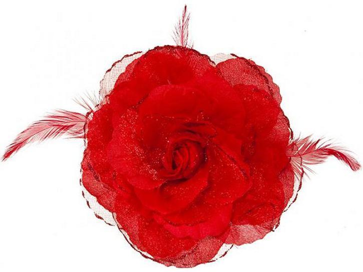 Ansteckblume rot mit Feder