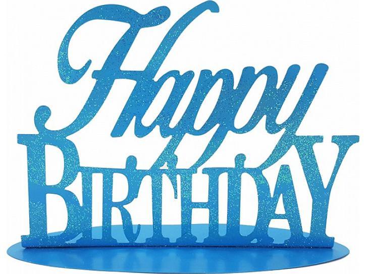 Aufsteller Happy Birthday blau