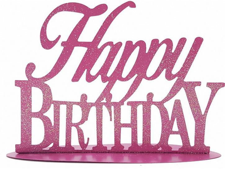 Aufsteller Happy Birthday rosa