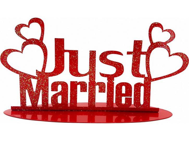 Aufsteller Just Married rot