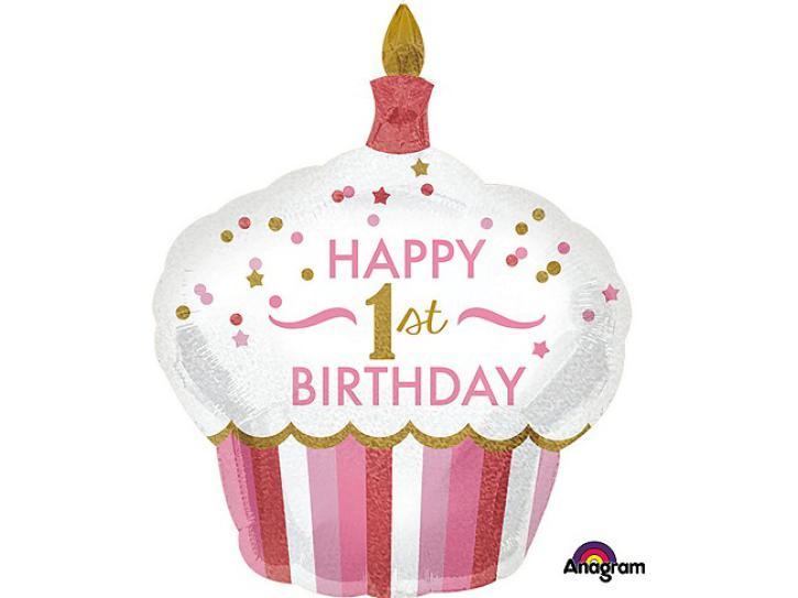Folienballon Cupcake 1.st Birthday pink 36