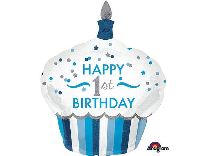 Folienballon Cupcake 1.st Birthday blau 36