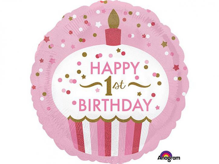 Folienballon Happy 1st. Birthday Girl  48cm