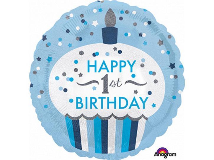 Folienballon Happy 1st. Birthday Boy 48cm