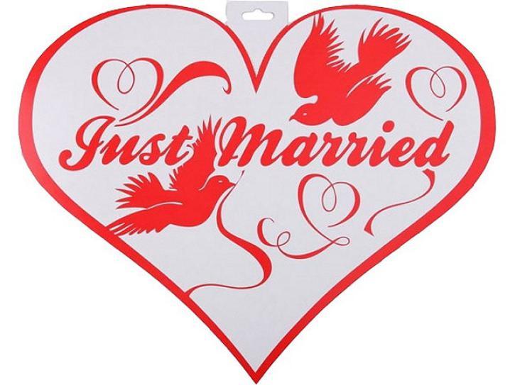 Herzschild Just married weiß/rot