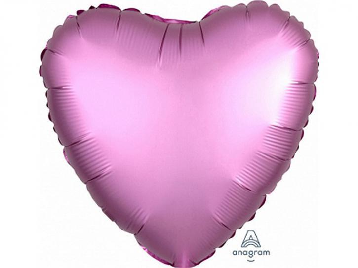 Folienballon Herz Flamingo matt