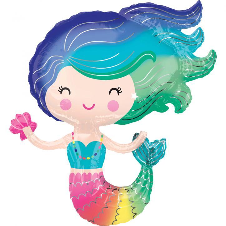 Folienballon Meerjungfrau bunt