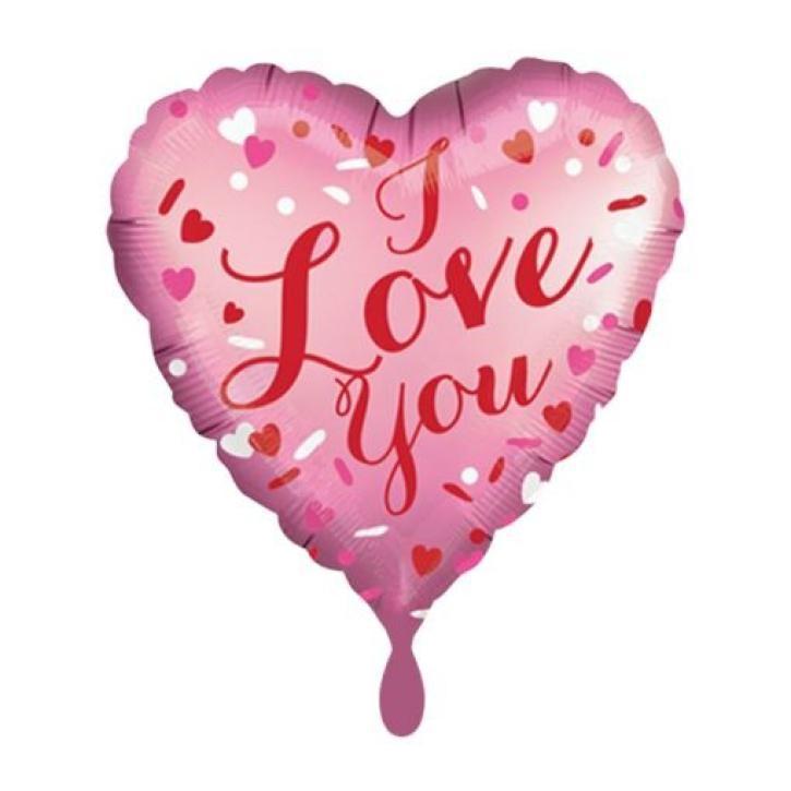 Folienballon I Love you rosa/rot Satin