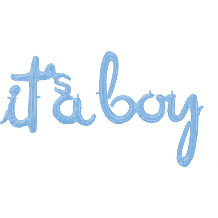 Folienballon Schriftzug its a boy blau