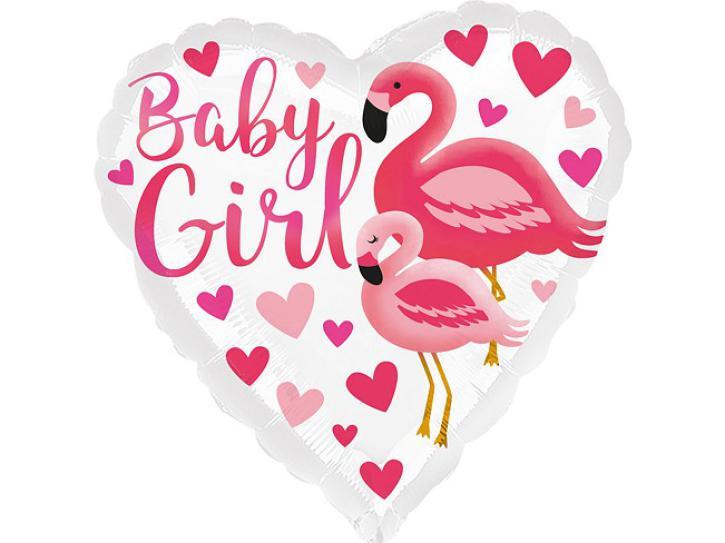 Folienballon Flamingo Baby Girl 18