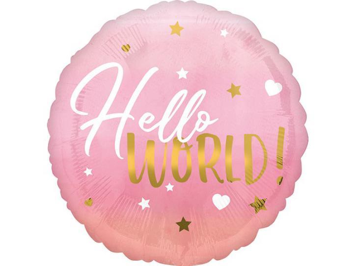 Folienballon Hello World pink 18