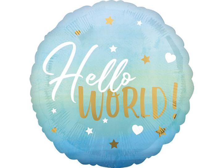Folienballon Hello World blau 18