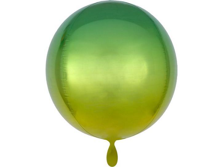 Folienballon Orbz gelb-grün 40 cm