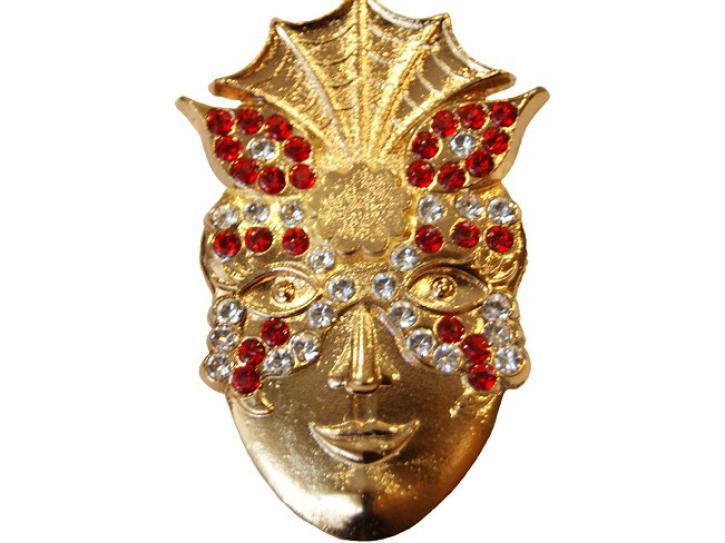Brosche Maske rot