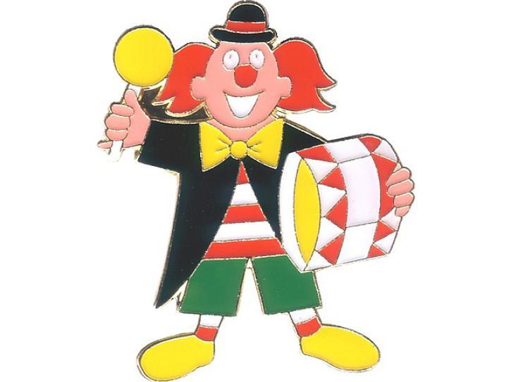 Karnevalspin Clown mit Trommel