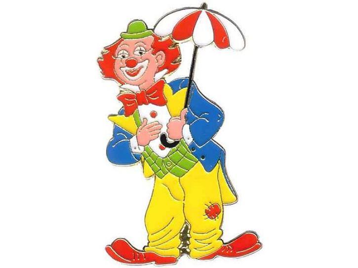 Karnevalspin Clown mit Schirm