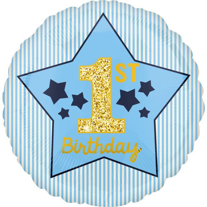 Folienballon 1.st Birthday Boy blau/gold