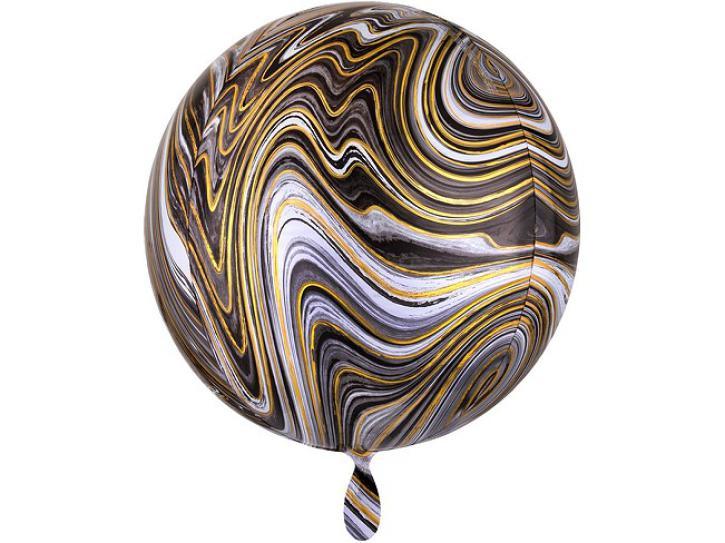 Folienballon Orbz schwarz gold Marblez 16