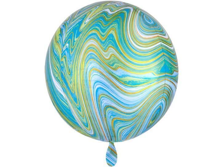 Folienballon Orbz blau grün Marblez 16