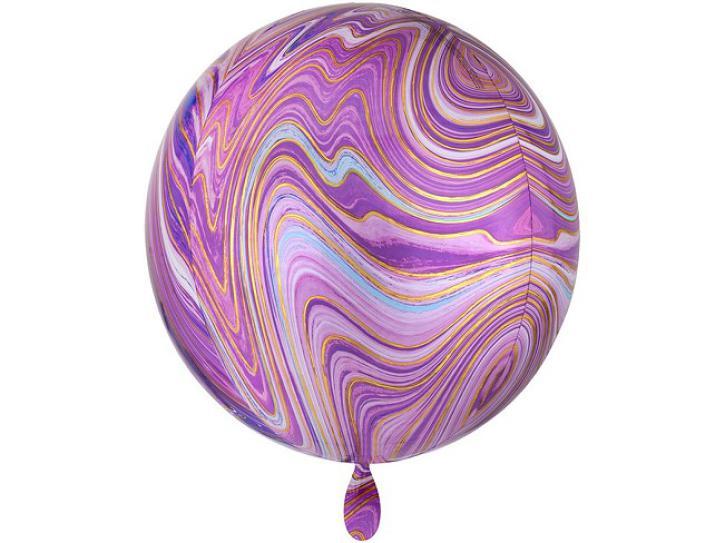 Folienballon Orbz pink, lila Marblez 16