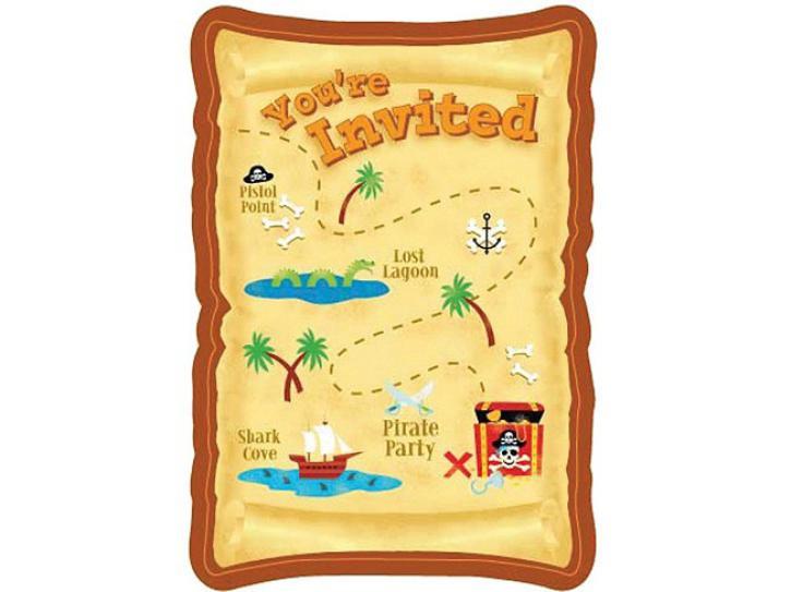 Einladungskarten Pirate Party 8 Stk.