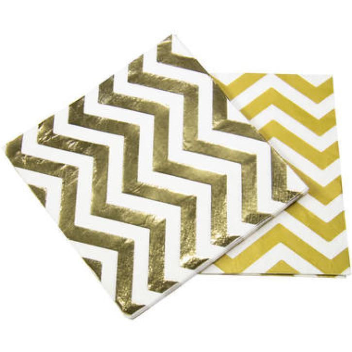 Servietten metallic weiß/gold 20 Stk.