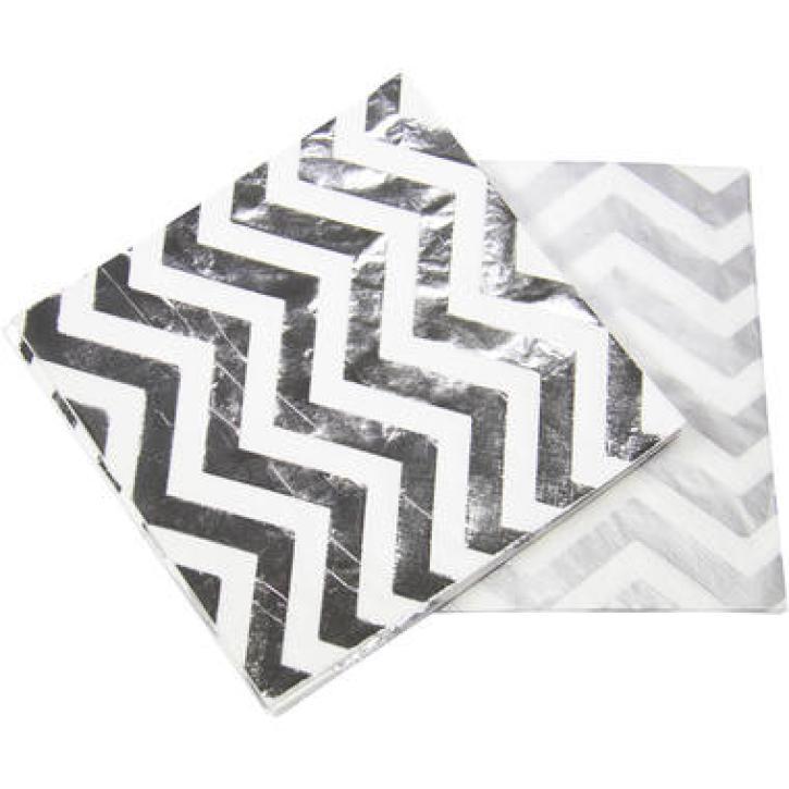 Servietten metallic weiß/silber 20 Stk.