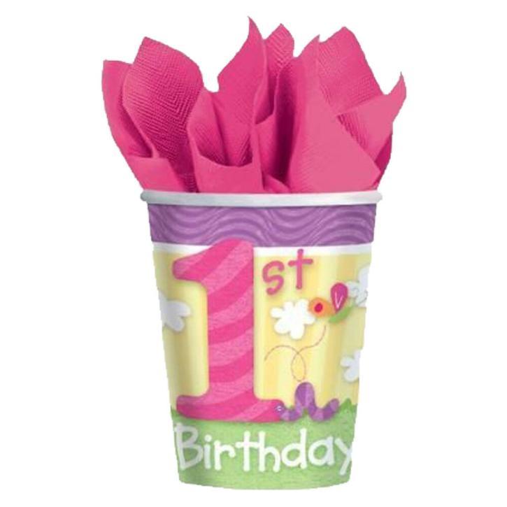 Becher 1st. Birthday girls 8 Stk.