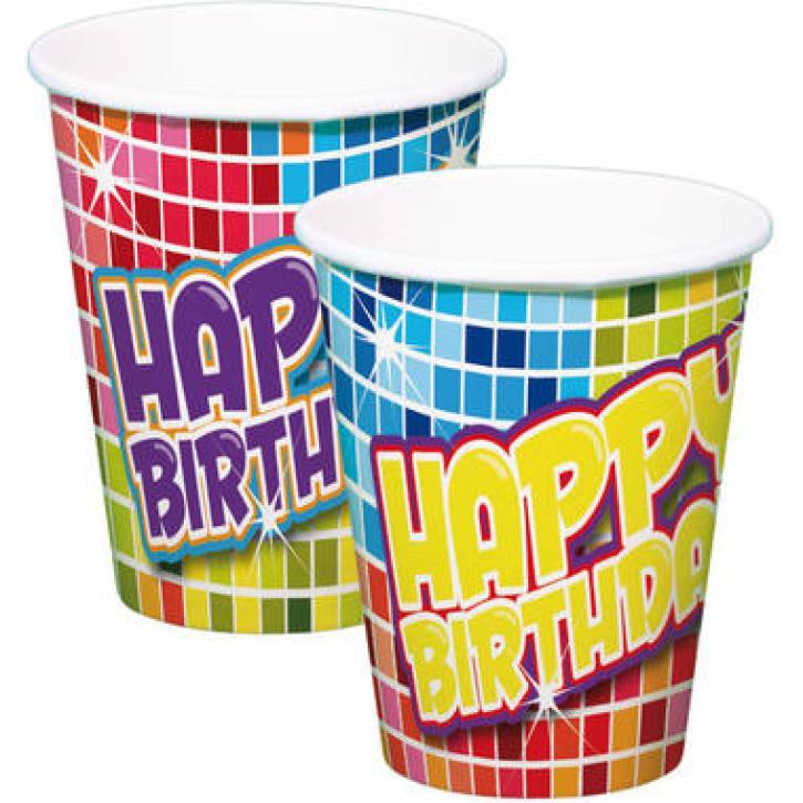 Becher Happy Birthday kariert 6 Stk.