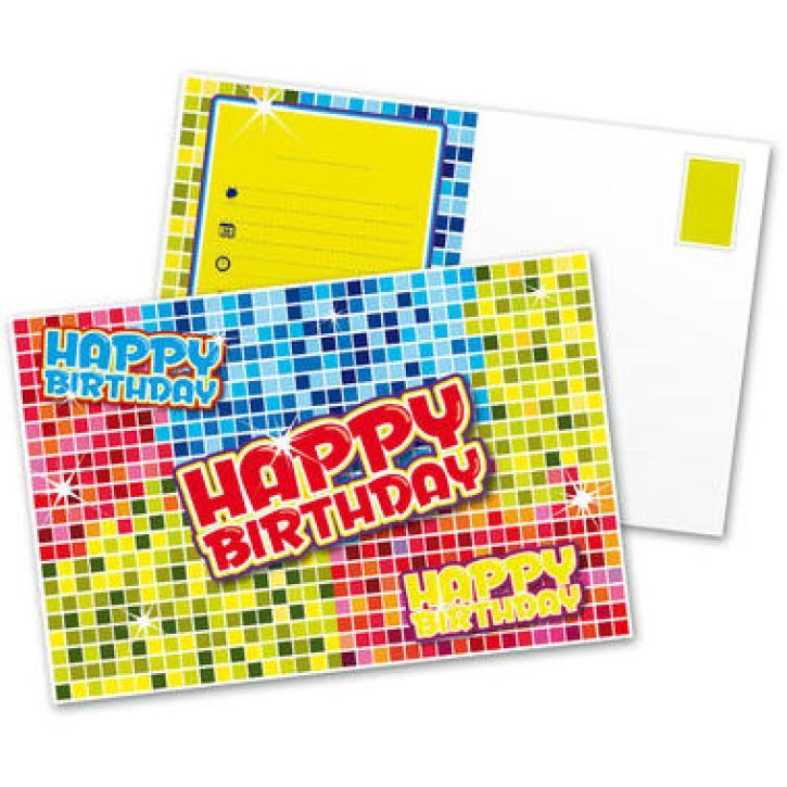Einladungskarten Karo Happy Birthday 6 Stk.