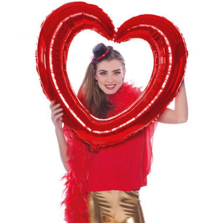 Folienballon Herzrahmen rot