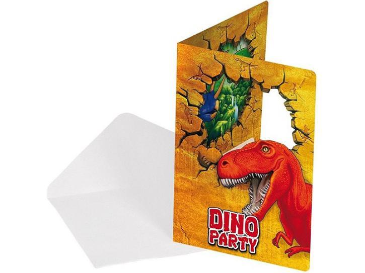 Einladungskarten Dinosaurier 6 Stk.