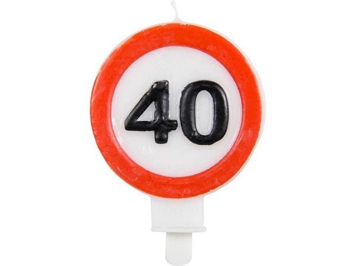 Kerze Verkehrschild 40