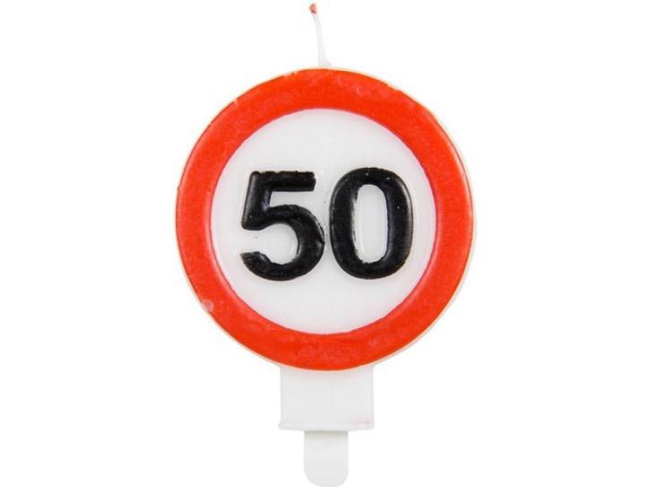 Kerze Verkehrschild 50