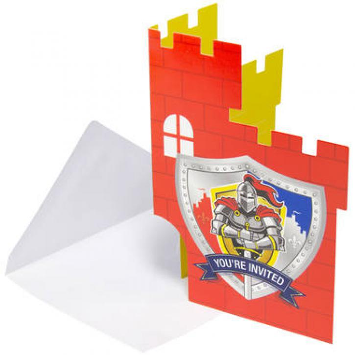 Einladungskarten Ritter 8 Stk.