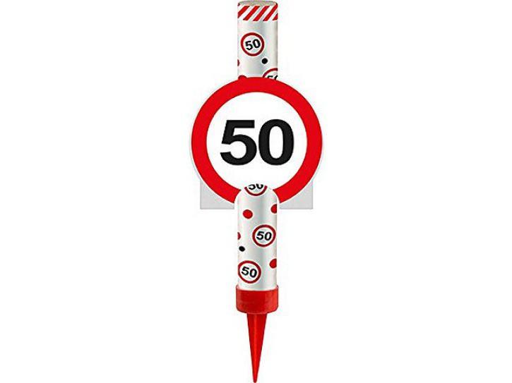 Eisfontäne Verkehrschild 50