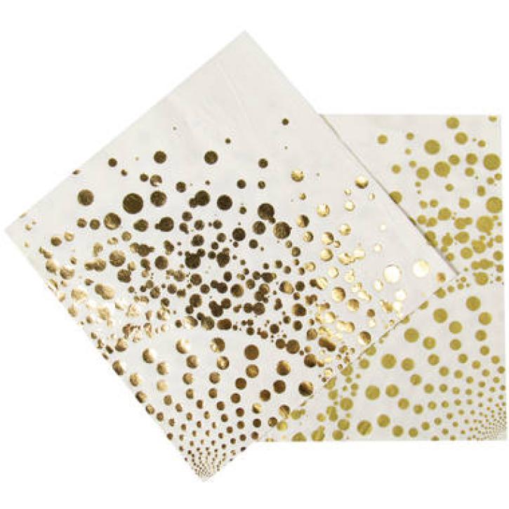 Servietten Luxury weiß/gold 16 Stk.