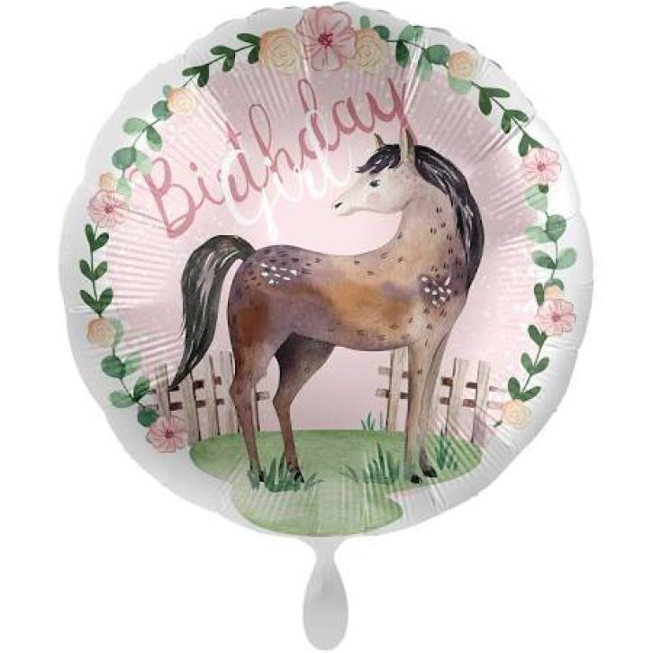 Folienballon Happy Birthday Pferd Satin