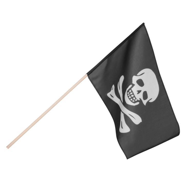 Fahne Totenkopf Pirat mit Stock