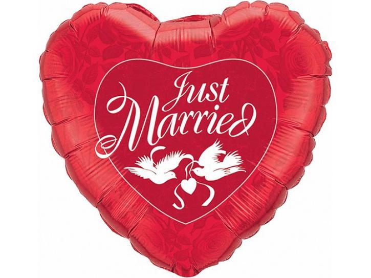 Folienballon Just married rot 36