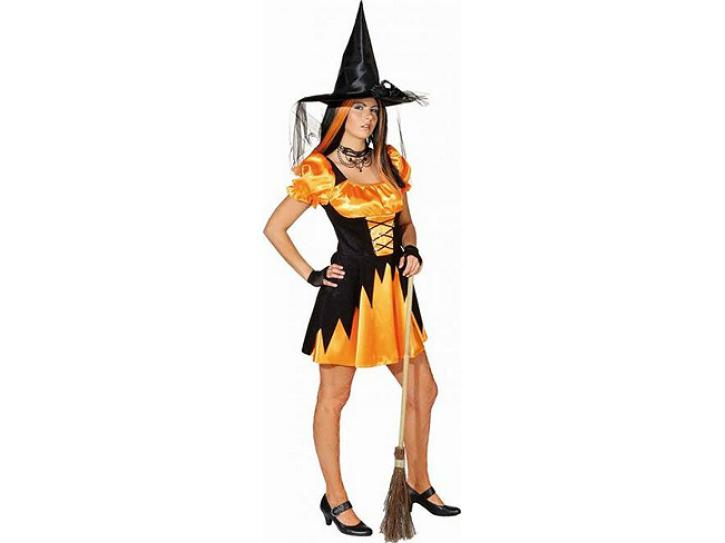 Kostüm Hexe Leila orange/schwarz Gr.34