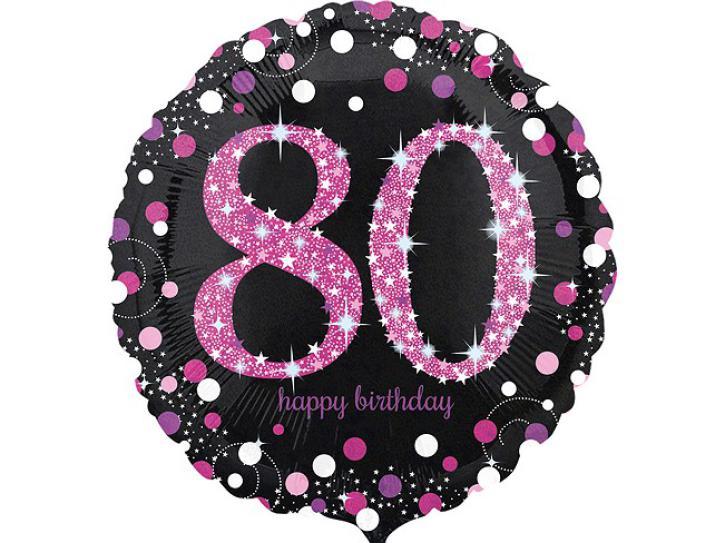 Folienballon 80 pink celebration