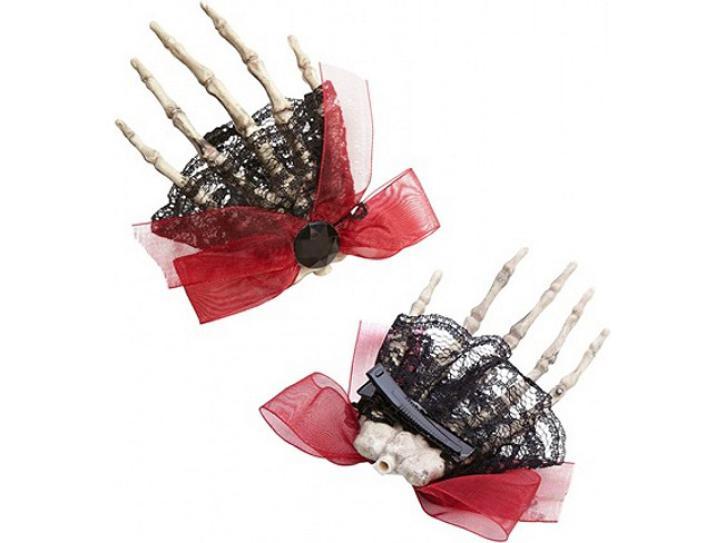 Haarklammer mit Skeletthand