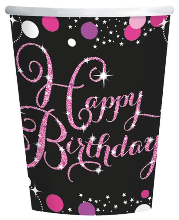 Becher Happy Birthday pink 8 Stk