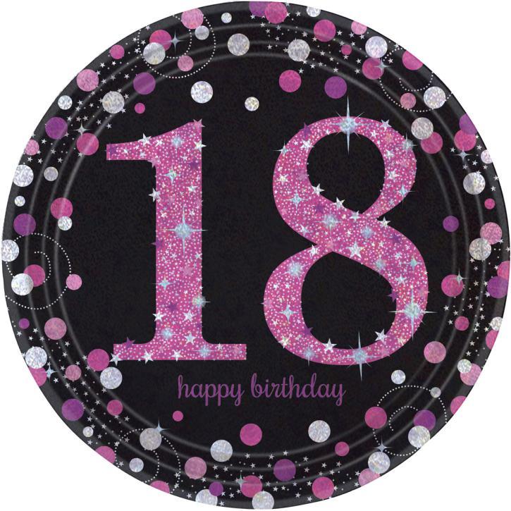 Teller Happy Birthday 18. pink 8 Stk