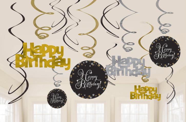 Dekospiralen Happy Birthday schwarz/gold