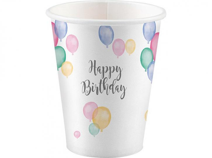 Becher Happy Birthday pastell 8 Stk.