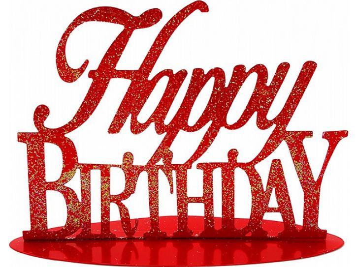 Aufsteller Happy Birthday rot